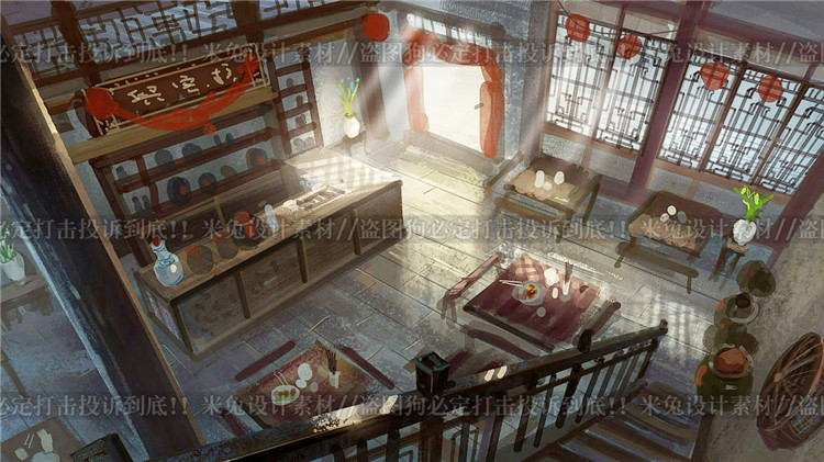 游戏美术素材/原画参考/中国风场景气氛图/大师作品/手绘上色CG