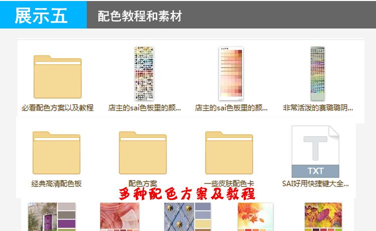 sai动漫绘画自学教程原画插画视频教程 基础上色配色板软件临摹